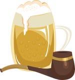 Becher des Bieres und des Rohres Stockfoto