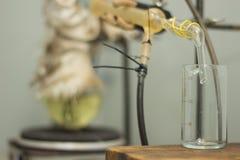 Becher et réaction chimique image stock