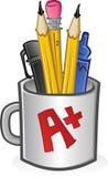 Becher Federn und Bleistifte Stockbild