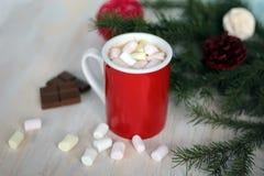 Becher gefüllt mit heißer Schokolade und Eibischen Lizenzfreie Stockfotografie