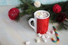 Becher gefüllt mit heißer Schokolade und Eibischen Lizenzfreie Stockfotos