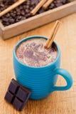 Becher heiße Schokolade mit Zimt lizenzfreie stockfotos