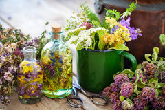 Becher heilende Kräuter, Teekessel und Flaschen Tinktur Stockbild