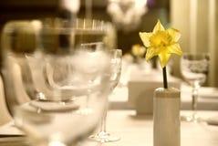 Becher mit Blume auf der Tabelle Stockfotos