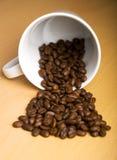 Becher und Körner des Kaffees lizenzfreies stockbild