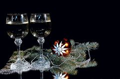 Becher zwei Champagner. Stockfoto