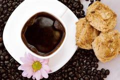 Becherkaffee und -biskuite lizenzfreie stockfotografie