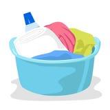 Becken voll der Wäscherei und der Reinigungsmittel vektor abbildung