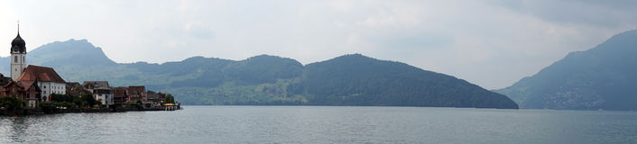 Beckenried. And panorama of Lake Lucerne in Switzerland royalty free stock image