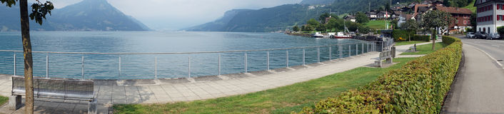 Beckenried. And panorama of Lake Lucerne in Switzerland Stock Image