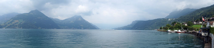 Beckenried. And panorama of Lake Lucerne in Switzerland stock photos