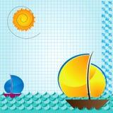 Beckground della barca e del mare Royalty Illustrazione gratis