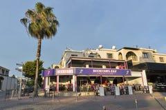 Beckhams酒吧门面在帕福斯,塞浦路斯 库存照片