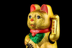 Beckoning Cat With Black Background. Beckoning Cat, studio shot of golden asian figurine with black background royalty free stock photo