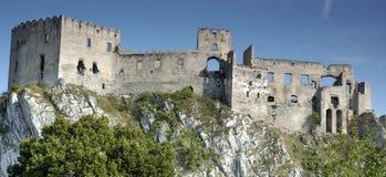 Beckov ruins, slovakia. Panoramatic view on Beckov ruins, slovakia Royalty Free Stock Photo