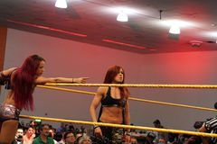 Becky Lynch and Sasha Banks in corner of ring during tag team ma Stock Image