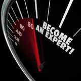 Become an Expert Speedometer Learn Fast Speed Gain Experience Stock Images