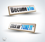 'Become a Fan' social themes 3D Panels Stock Image