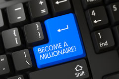 Become A Millionaire CloseUp of Blue Keyboard Keypad. 3D. Become A Millionaire Concept: Modernized Keyboard with Blue Enter Keypad Background, Selected Focus stock photo