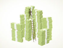 Become a millionaire. A person standing on top of a pile of green banknotes by using a ladder Stock Images