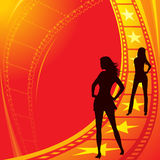 Become movie stars. Sexy girls at track to become movie stars Stock Images