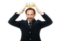 Become next king. Monarchy family traditions. Man nature bearded guy in suit hold golden crown symbol of monarchy royalty free stock image
