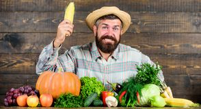 Become organic farmer. Farmer with organic homegrown vegetables. Grow organic crops. Community gardens and farms. Homegrown organic food. Healthy lifestyle royalty free stock images