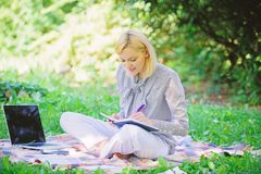 Become successful freelancer. Business lady freelance work outdoors. Freelance career concept. Guide starting freelance. Career. Managing business outdoors royalty free stock photo
