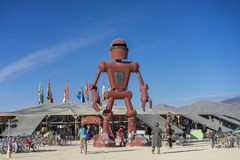 Becoming Human by Christian Ristow at Burning Man 2015 infront of Center Camp Stock Images