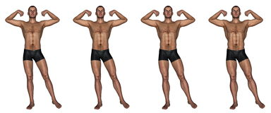 Becoming a muscular man - 3D render. Set of four men showing progression to become a muscular man isolated in white background Royalty Free Stock Image