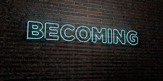 BECOMING -Realistic Neon Sign on Brick Wall background - 3D rendered royalty free stock image. Can be used for online banner ads and direct mailers Stock Photo