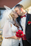 Becoming a young couple after the wedding ceremony stock photography