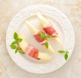 Becon och melon skinka Traditionell spanjormaträtt Royaltyfri Foto