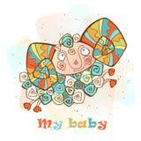 Bectksqlam met hoornen in een leuke stijl Mijn baby inschrijving Vector royalty-vrije illustratie