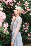 Bedöva brudståenden i härlig blå bröllopsklänning på naturlig bakgrund royaltyfri fotografi