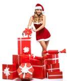 Bedöva den sexiga blonda jultomtenflickan arkivbilder