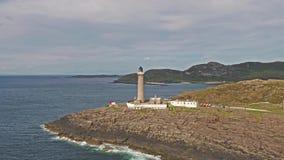 Bedöva det långdistans- antennskottet sära 03 av Ardnamurchan punkt, stora Britains mest västlig punkt, med fyren lager videofilmer
