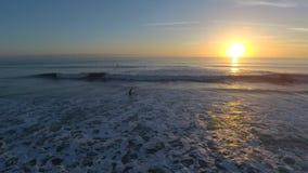 Bedöva flyg- sikt för surr 4k på varm soluppgång över lugna vita skumhavvågor i Florida satellit- bränning sätta på land seascape lager videofilmer