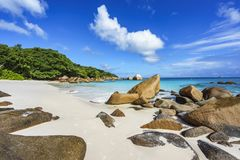 Bedöva paradis sätta på land på anse lazio, praslinen, Seychellerna 85 Royaltyfria Bilder