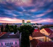 Bedöva sikt över Alexander Nevsky Cathedral i Sofia Bulgaria royaltyfri fotografi