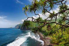 Bedöva sikt av den steniga stranden av den Pololu dalen, stor ö, Hawaii som tas från den Pololu slingan, Hawaii Royaltyfria Bilder