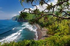 Bedöva sikt av den steniga stranden av den Pololu dalen, stor ö, Hawaii som tas från den Pololu slingan, Hawaii Royaltyfri Foto