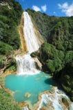Bedöva sikt till vattenfallet för El Chiflon Arkivfoto