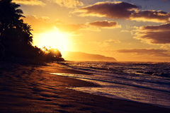 Bedöva solnedgång på sköldpaddastranden nära Haleiwa - norr kust Oahu fotografering för bildbyråer