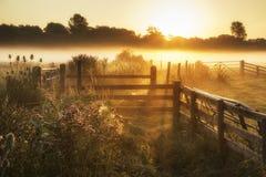 Bedöva soluppgånglandskap över dimmig engelsk bygd med G Royaltyfri Foto