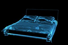 Bed 3D xray blue transparent. Bed 3D rendered xray blue transparent Royalty Free Stock Images