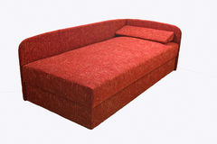 The Bed. The red single bed, isolated Stock Images