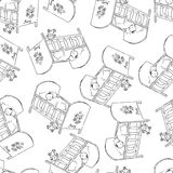 Bed for baby vector. Monochrome seamless pattern backgrounds. Sleeping child. Stock Image
