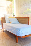 Bed on the balcony room Royalty Free Stock Photos