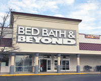 Bed Bath & Beyond. Operates a chain of stores across United States, Puerto Rico and Canada.It sells items for the bedroom, bathroom, kitchen, and dining room Stock Photos